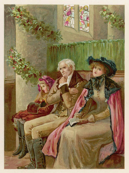 Wall Art - Drawing -  Three Generations In A Church  Pew by Mary Evans Picture Library