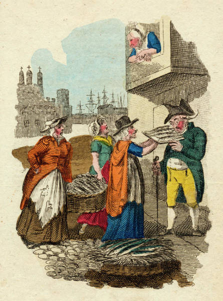 Wall Art - Drawing -  Three Women Street Traders  Selling by Mary Evans Picture Library