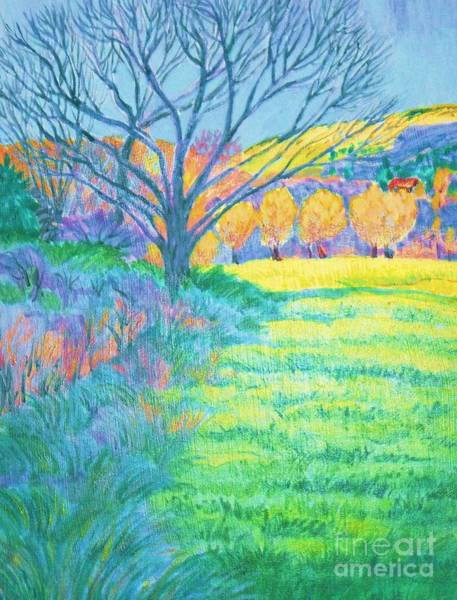Tree In Field Painting Art Print by Annie Gibbons