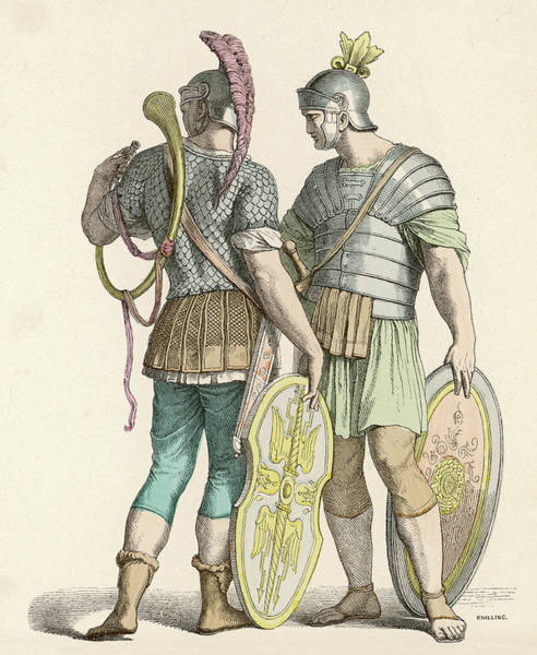 Roman Soldier Drawing -  Two Foot Soldiers With Ornamented by Mary Evans Picture Library