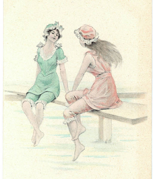 Bather Drawing -  Two Girls In Bathing Suits  Sitting by Mary Evans Picture Library