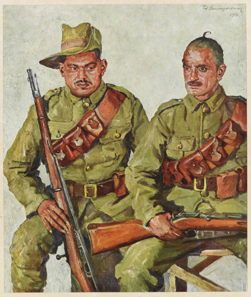 Wall Art - Drawing -  Two Soldiers From The Garhwal  Region by Mary Evans Picture Library
