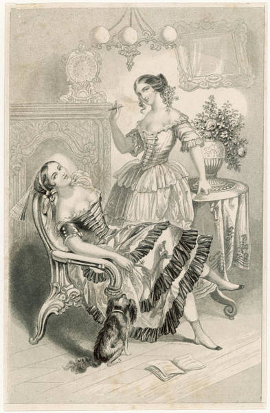 Wall Art - Drawing -  Two Young Ladies Smoke Cigars by Mary Evans Picture Library