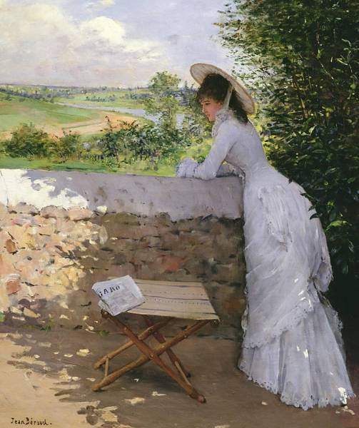Pensive Painting -  Un Figaro De Reve  by Jean Beraud