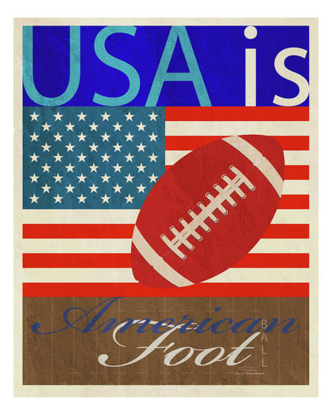 Football Drawing -  Usa Is American Football by MGL Meiklejohn Graphics Licensing