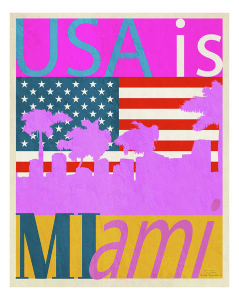 Palm Trees Drawing -  Usa Is Miami by MGL Meiklejohn Graphics Licensing