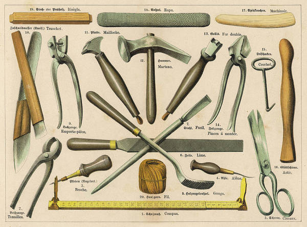 Wall Art - Drawing -  Various Tools Used By A  Shoemaker Or by Mary Evans Picture Library