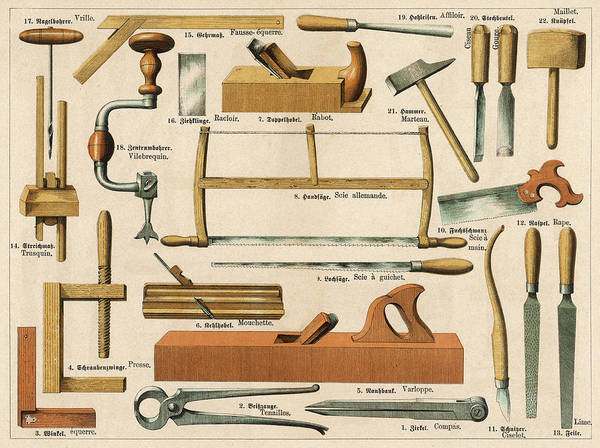Wall Art - Drawing -  Various Tools Used In  Carpentry by Mary Evans Picture Library