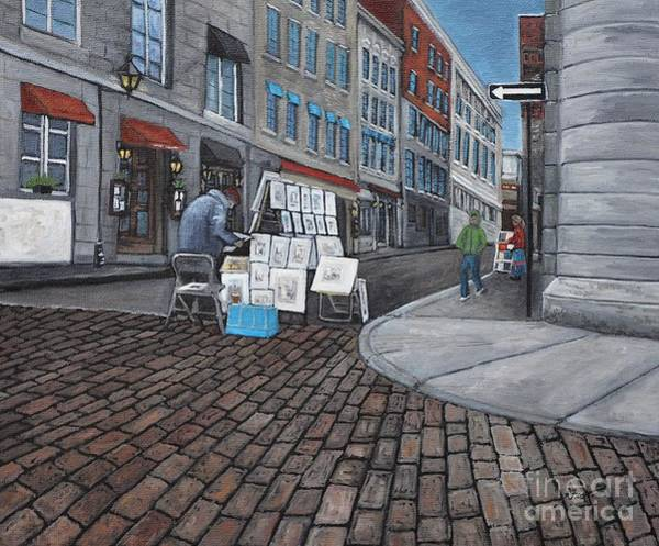 Old Montreal Painting -  Vendeur Sur La Rue Vieux Montreal by Reb Frost