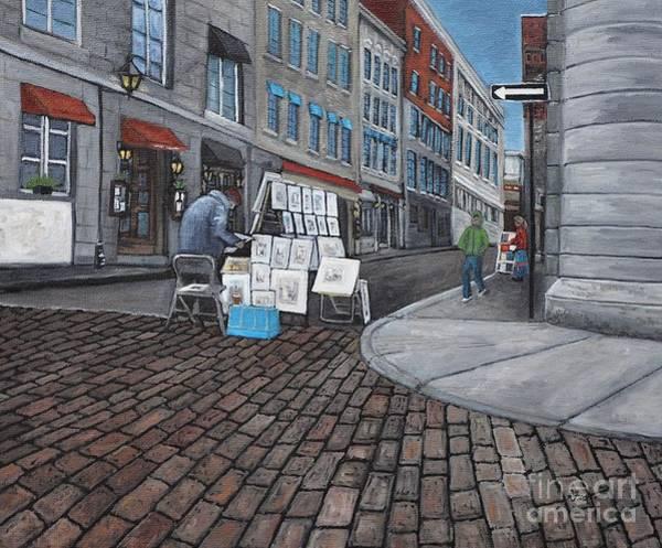 Montreal Street Scene Painting -  Vendeur Sur La Rue Vieux Montreal by Reb Frost