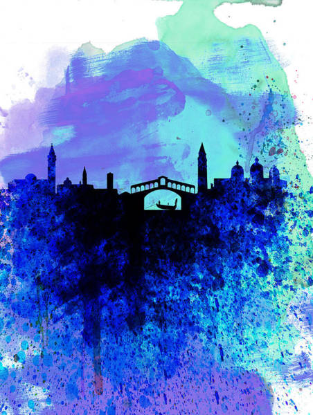 Wall Art - Painting -  Venice Watercolor Skyline by Naxart Studio
