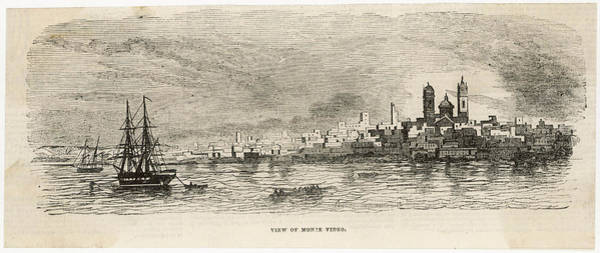 Montevideo Wall Art - Drawing -  View Of Montevideo From The Sea by Mary Evans Picture Library