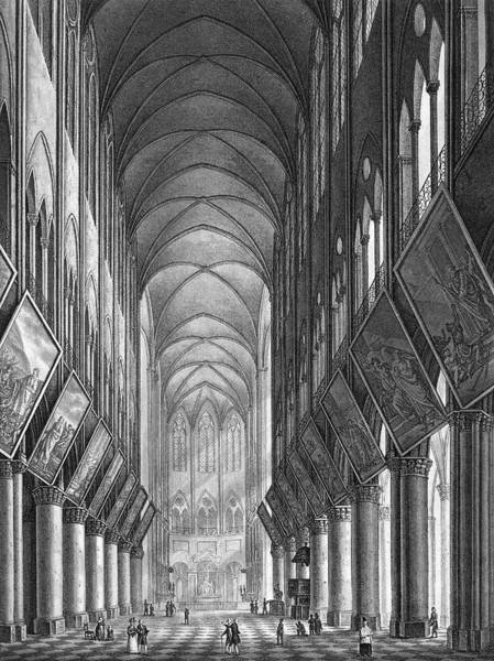 Notre Dame Drawing -  View Of The Interior In The  Year by Mary Evans Picture Library