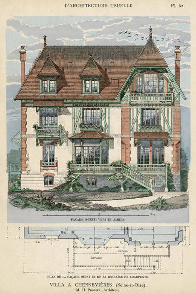 Villa Drawing -  Villa At Chennevieres (seine- Et-oise by Mary Evans Picture Library