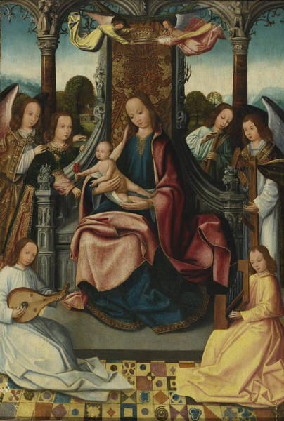 Circa Painting -  Virgin And Child Enthroned With Musical Angels by Celestial Images