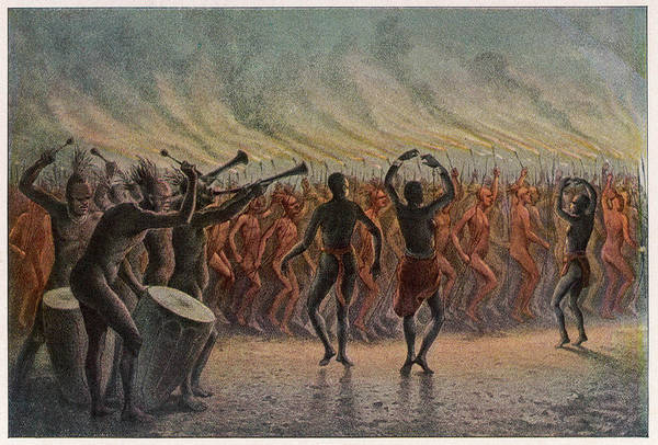 Wall Art - Drawing -  War Dance Of The Bari-neger Of by Mary Evans Picture Library