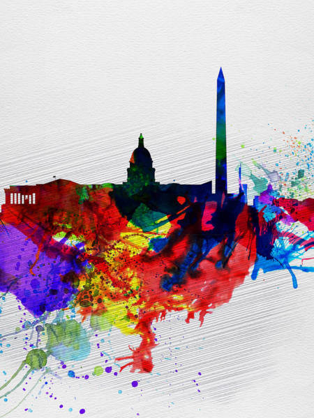Horizon Wall Art - Painting -  Washington Dc Watercolor Skyline 1 by Naxart Studio