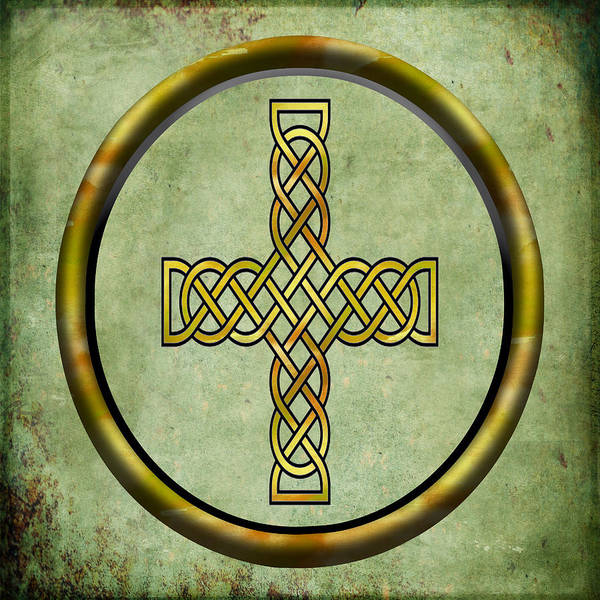 Eire Digital Art -  Watercolor Celtic Cross Celtic Symbol by Kandy Hurley