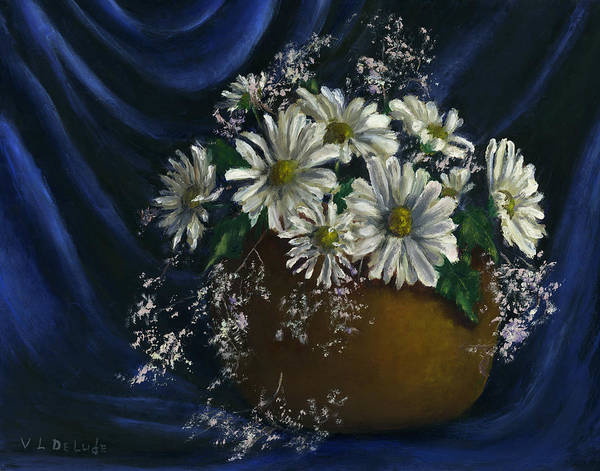 Painting -  White Daisies In Blue Fabric Still Life Art by Lenora  De Lude