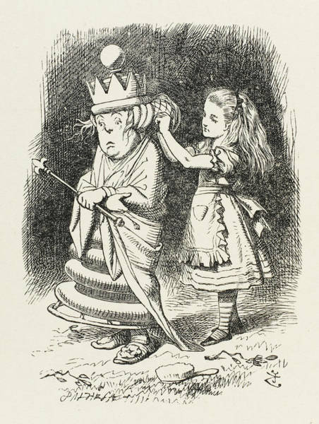 Wall Art - Drawing -  White Queen  Alice Adjusts The White by Mary Evans Picture Library