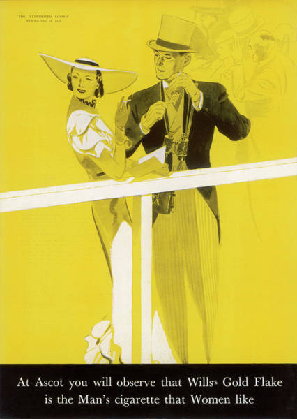 Wall Art - Drawing -  Wills's Gold Flake At Ascot - by  Illustrated London News Ltd/Mar