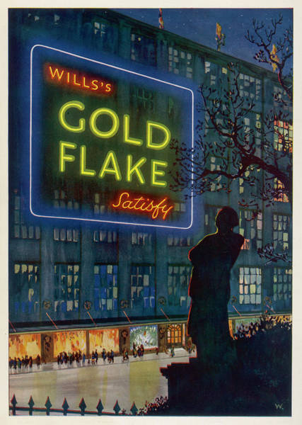 Neon Drawing -  Wills's Gold Flake  Cigarettes Satisfy by  Illustrated London News Ltd/Mar