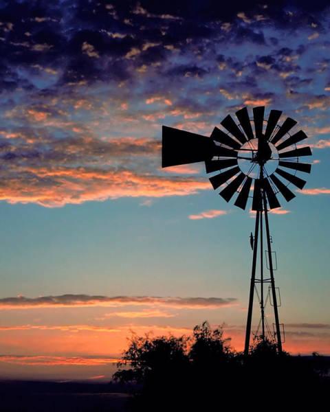 Pump Photograph -  Windmill At Dawn by David and Carol Kelly