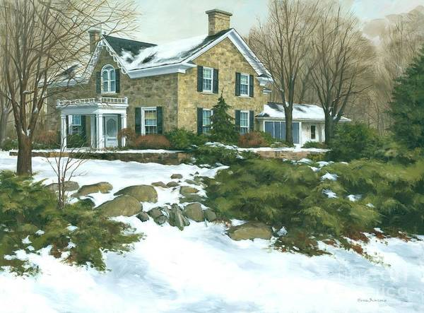 Slate Painting -  Winter's Retreat   by Michael Swanson