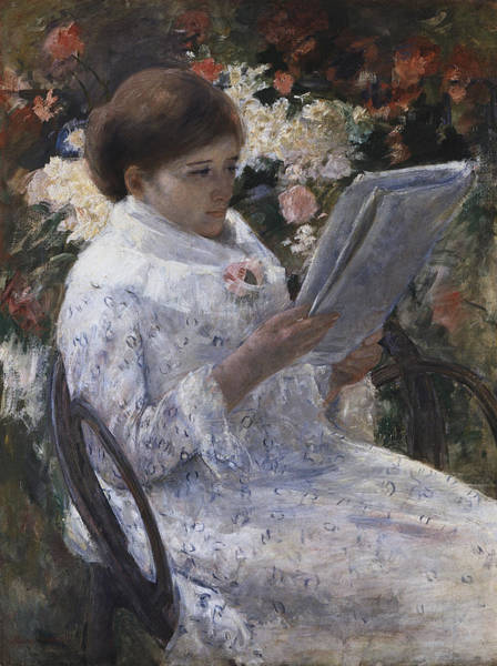 Painting -  Woman Reading In A Garden by Celestial Images