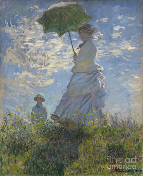 Wall Art - Painting -  Woman With A Parasol Madame Monet And Her Son by Claude Monet