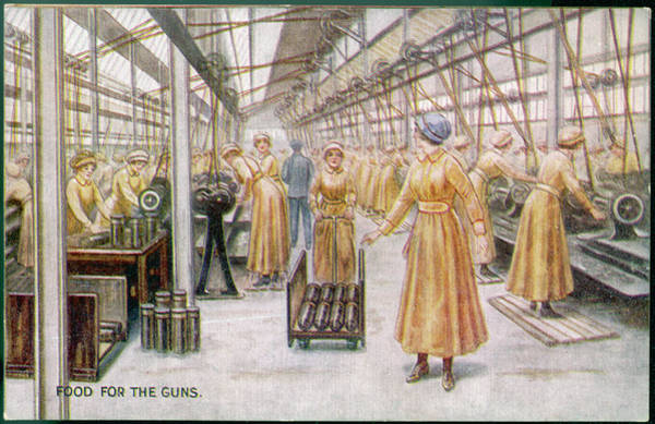 Wall Art - Drawing -  Women Working In Munitions  Factory by Mary Evans Picture Library