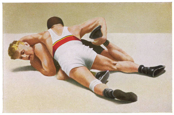 Wall Art - Photograph -  Wrestling Foldeak (germany) Beats by Mary Evans Picture Library