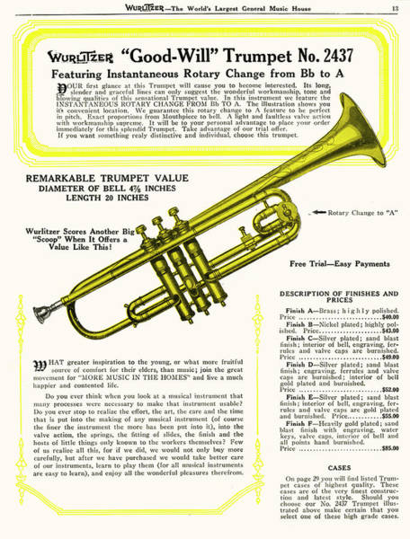 1924 Drawing -  Wurlitzer 'good Will' Trumpet by Mary Evans Picture Library