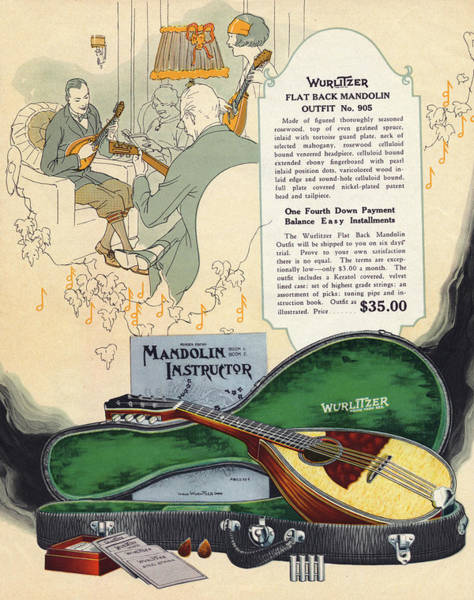 Wall Art - Drawing -  Wurlitzers Flat-back  Mandolin Outfit by Mary Evans Picture Library