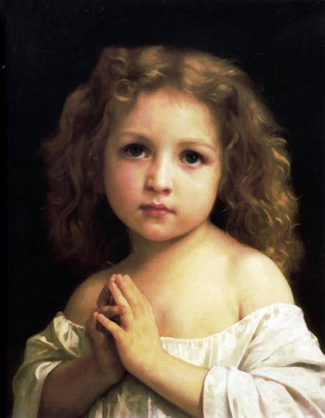 Digital Art -  Young Girl Child Praying by William Bouguereau