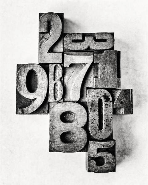 Wall Art - Photograph - 0-9 Typesetting Number Art In Black And White by Lisa Russo