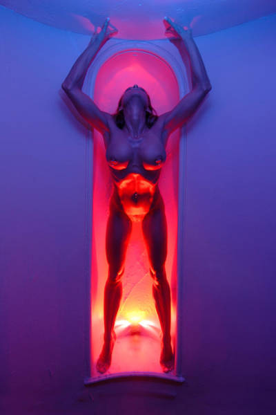 Photograph - 0109 Passion Series Nude Woman Emerging In Red And Blue  by Chris Maher