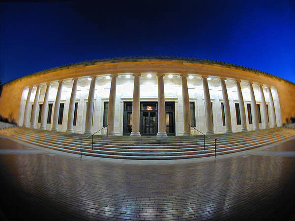 Photograph - 0138 Twilight Toledo Museum Of Art Fish Eye Colonade by Chris Maher