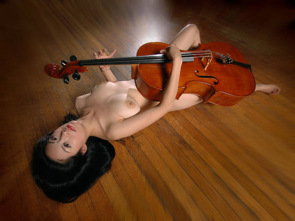 Photograph - 0149 Naked Cellist With Cello  by Chris Maher