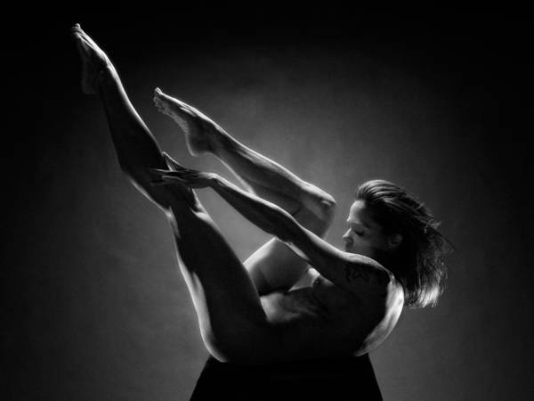 Photograph - 0156 Art Nude Black White Strong Mature Woman  by Chris Maher
