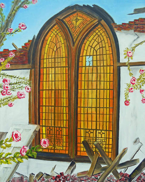 Leaded Glass Painting - 048  Broken Baptist by Gregory Otvos