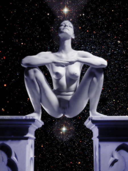 0734 Nude Woman On Star Altar Art Print