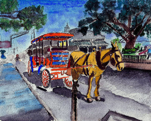 090514 New Orleans Carriages Watercolor Art Print