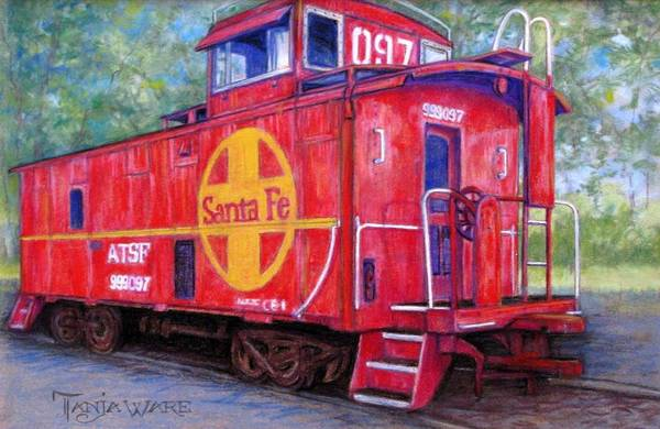 Red Caboose Painting - 097 by Tanja Ware