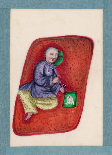 Mat Drawing -  A Chinese Smoker Lies On A  Mat by Mary Evans Picture Library