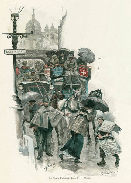 Wall Art - Drawing -  A Rainy Day In Fleet Street,  Looking by Mary Evans Picture Library