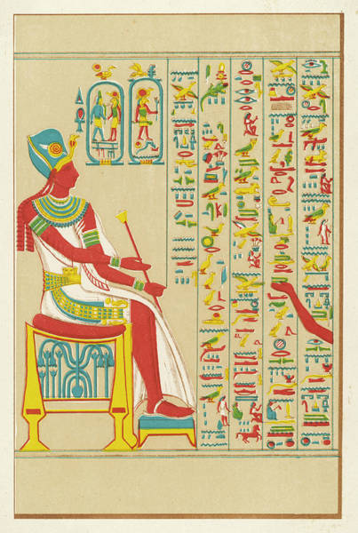 Wall Art - Drawing -  An Example Of Egyptian  Hieroglyphics by Mary Evans Picture Library
