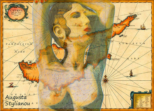 Digital Art -  Aphrodite And Ancient Cyprus Map by Augusta Stylianou