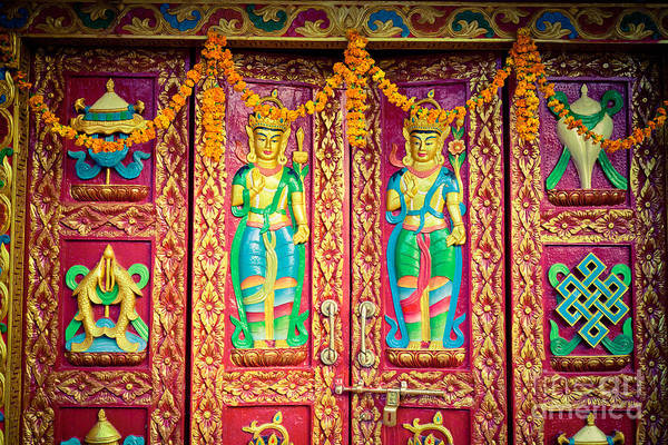 Photograph -  Door With Buddhist Symbols by Raimond Klavins