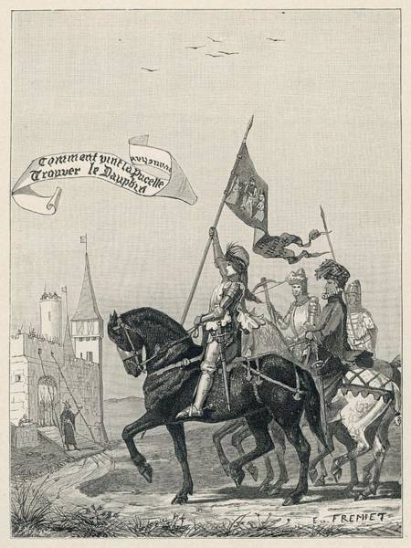 Wall Art - Drawing -  Jeanne D'arc Rides To Meet  Charles by Mary Evans Picture Library